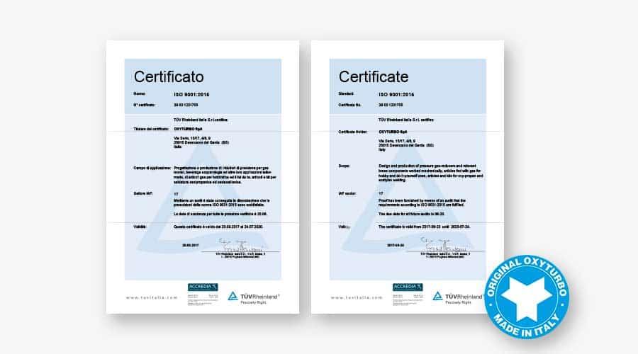 certificazioni oxyturbo
